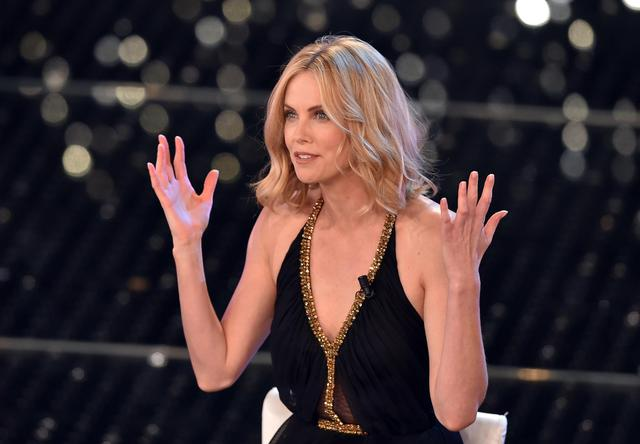 Charlize Theron on stage during the Sanremo Italian Song ANSA/ETTORE FERRARI