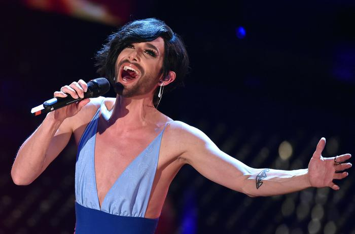 Conchita Wurst on stage during the Sanremo Italian Song Festival, at the Ariston theater, in Sanremo, Italy, 11 Februaty 2015. The 65th Festival della Canzone Italiana runs from 10 to 14 February.     ANSA/ETTORE FERRARI